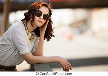 il portare, moda, occhiali da sole, closeup, fuori, ritratto, modello