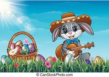 il portare, pieno, giardino, sombrero, uova, chitarra esegue, field., coniglio, cesto, coniglietto, decorato, pasqua, cartone animato
