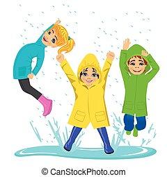 il portare, poco, bambini, colorito, pozzanghera, stivali, raincoats, gioco