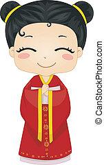 il portare, poco, cinese, cheongsam, nazionale, costume, ragazza