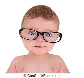 il portare, poco, occhio, fondo, bambino, bianco, occhiali