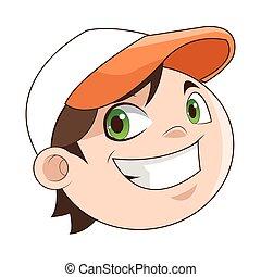 il portare, ragazzo, berretto, sorridente, icona, felice
