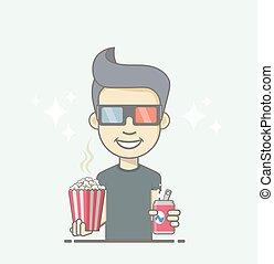il portare, ragazzo, box., coke, presa a terra, popcorn, occhiali, 3d