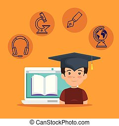 il portare, ragazzo, laptop, berretto, graduazione, libro, digitale