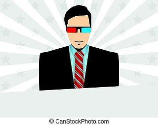 il portare, raggi, illustrazione, stars., vettore, glasses., fondo, 3d, uomo