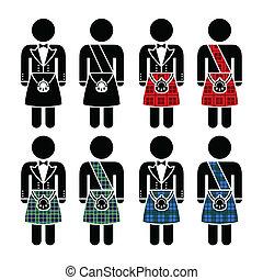 il portare, scozzese, kilt, uomo, icone