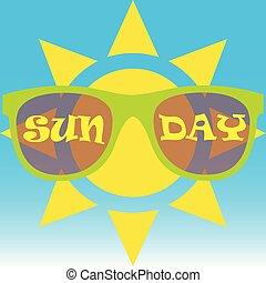 il portare, sole, occhiali da sole
