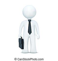 il portare, standing, carattere, valigia, cravatta, 3d