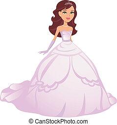 il portare, veste, ragazza, principessa, cartone animato