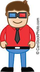 il portare, -, vettore, uomo, occhiali, 3d