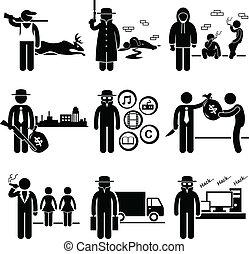 illegale, attività, lavori, crimine