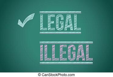 illegale, vs, legale, illustrazione