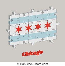 illinois, 3d, stati, jigsaw confondono, populous, bandiera, la maggior parte, unito, città, chicago, america.