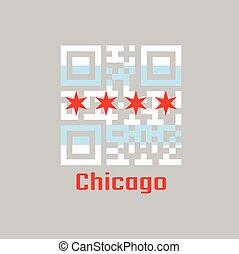 illinois, chicago, set, colore città, bandiera, qr, populous, codice, la maggior parte