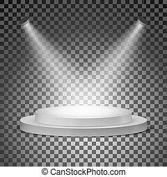 illuminato, illustrazione, fondo., podio, vettore, trasparente, searchlights