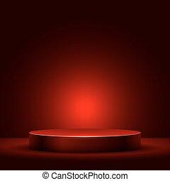 illuminato, luce, astratto, podio, rotondo, rosso