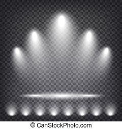 illuminato, luce, illustrazione, fondo., podio, vettore, palcoscenico, trasparente, sfondo.