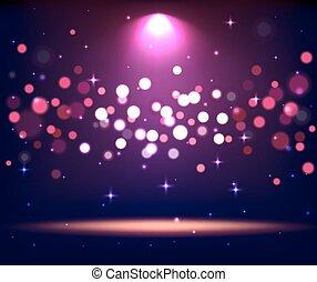 illuminato, macchia, scena, luci, podio, stare in piedi, viola, palcoscenico