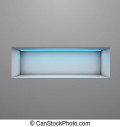 illuminato, mensola, neon, vettore, esposizione, luce, illustration.
