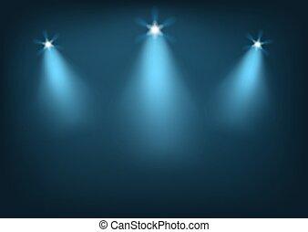 illuminato, palcoscenico, luci luminose
