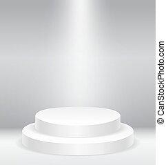 illuminato, rotondo, podio, palcoscenico