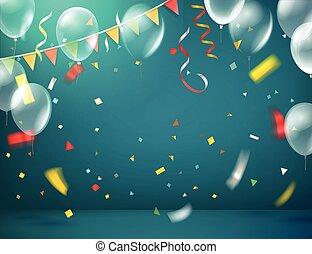 illuminato, vettore, fondo, coriandoli, balloons., stanza