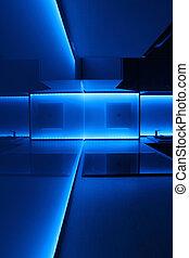 illuminazione blu, condotto, cucina