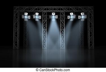 illuminazione, concerto, scena