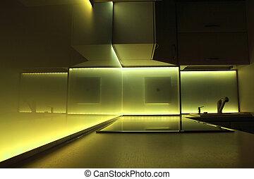 illuminazione, condotto, giallo, cucina