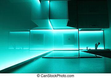 illuminazione, condotto, lusso, cucina