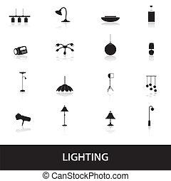 illuminazione, eps10, icone