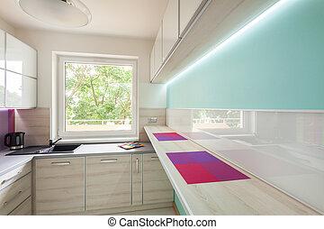 illuminazione, moderno, neon, cucina