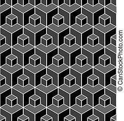 illusion., geometrico, pattern., seamless, 3d