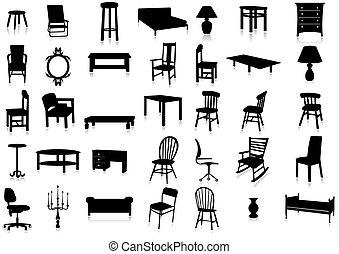 illustr, vettore, silhouette, mobilia