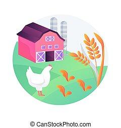illustration., agricoltura, vettore, sostenibile, concetto astratto