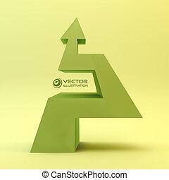 illustration., arrow., 3d, vettore