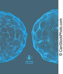 illustration., astratto, sphere., vettore, griglia, 3d, tecnologia, style., design.
