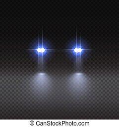 illustration., automobile, effetto, fondo., vettore, luce, trasparente