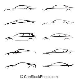 illustration., automobile, silhouette, supercar, veicolo, sport, collezione, vettore, set., motore, concetto, bussola