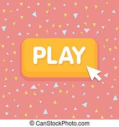 illustration., bottone, cursore, gioco, vettore, fondo, coriandoli, topo