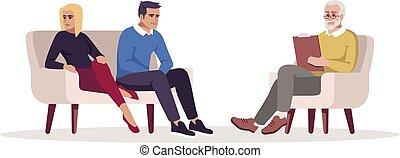 illustration., carattere, counseling., matrimonio, conflict., rgb, psicologo, maritale, isolato, appointment., vettore, cartone animato, colorare, relazione, coppia, problems., sessione, semi, appartamento, psicoterapia, bianco