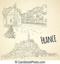 illustration., card., concept., vettore, sketching., turismo, mont san-michel, annecy., linea, set, città, viaggiare, arte, francia, silhouette.