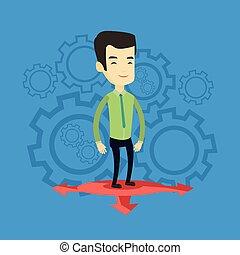 illustration., carriera, scegliere, vettore, modo, uomo