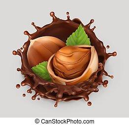 illustration., cioccolato, realistico, vettore, splash., nocciola, 3d, icona