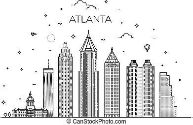 illustration., cityscape, atlanta, vettore, famoso, linea, limiti, orizzonte, lineare, architettura