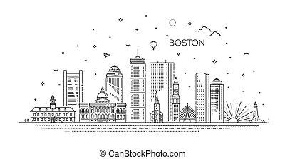 illustration., cityscape, vettore, famoso, linea, limiti, orizzonte, boston, lineare, architettura