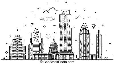 illustration., cityscape, vettore, famoso, linea, limiti, orizzonte, lineare, austin, architettura