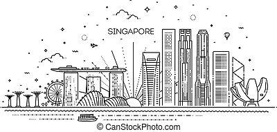 illustration., cityscape, vettore, famoso, linea, limiti, orizzonte, lineare, singapore, architettura