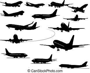illustration., colorare, silhouettes., uno, vettore, nero, aeroplano, scatto, cambiamento