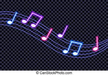 illustration., colorito, note, neon, scuro, vettore, ultravioletto, fondo, musica